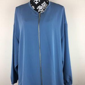 New Halston Blue Blazer Oversized Bomber Jacket